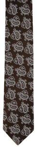 "New $195 Luigi Borrelli Brown with White Paisley Print Tie - 2.75"" Wide"