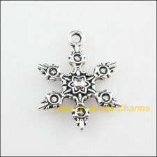 8Pcs Tibetan Silver Christmas Snowflake Flower Charms Pendants 17x23mm