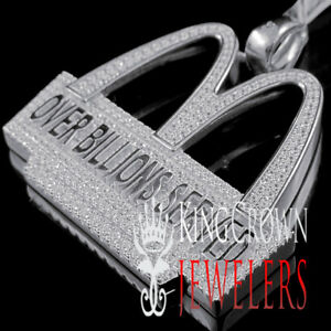 Real White Gold On Sterling Silver Collectable Custom Charm Simu Diamond Pendant