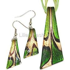Gold Foil Green Triangle Lampwork Glass Murano Bead Pendant Necklace Earring Set