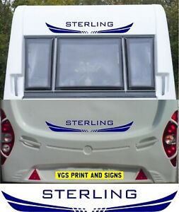 STERLING CARAVAN/MOTORHOME 2 PIECE KIT DECALS STICKERS CHOICE OF COLOUR #004