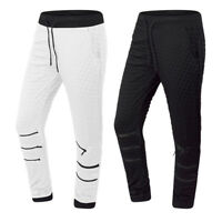 NEW Men Joggers Pants Quilted Zippers Elastic Waist Black White Sizes S-XL