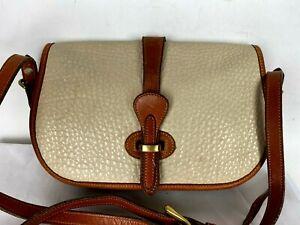 VTG DOONEY and BOURKE Flap Cognac Brown Cream Messenger Crossbody Shoulder Bag