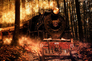 Reprint For STEAM TRAIN LOCOMOTIVE LANDSCAPE Poster ART Fabric Wall HD PAINTING