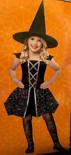 Spider Witch Halloween Costume Black w/ Silver Glitter Spiders Girls S/M 4-6 NIP