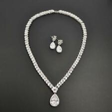 Shiny Silver Marquise & Pear Shape CZ Necklace Earrings Bridal Engagement Set