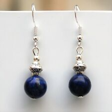 Lapis Lazuli Gemstone Earrings With Sterling Silver Hooks New Drop LB170