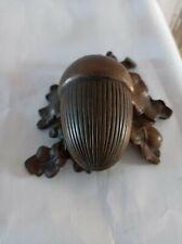 Encrier bronze Art Nouveau gland et feuilles vers 1900