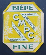 Ancienne étiquette BIERE CPMC bier beer old french label