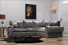Tango Large Left Corner Sofa Silver Fabric Luxury Crushed Velvet