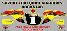 suzuki lt80 quad graphique autocollants prénom & numéro lt80 stratifié demi rock