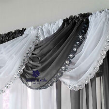 CRYSTAL SEQUIN SPARKLES JEWELLED GLITZY TRIM VOILE CURTAIN SWAG WHITE/GREY/BLACK
