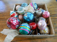 Lot of 27 Old Mercury Glass & Misc Christmas Ornaments / Indent Striped Teardrop