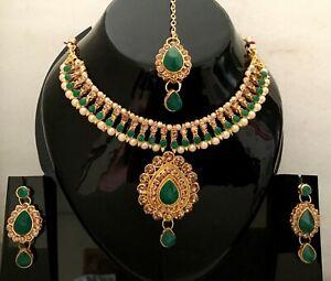 Indian Bollywood Gold Tone CZ  Wedding Fashion Jewelry Pearl Necklace Set M-7