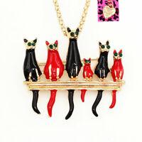 Cute Enamel Crystal Six Cat Kitten Pendant Betsey Johnson Necklace/Brooch Pin