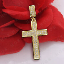 Diamond 10k Solid Yellow Gold For Men's Cross Pendant Necklace 1.50 Ct Round Cut