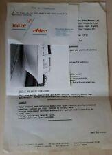Vintage Letterhead/Paperwork WAVE RIDER MARINE LTD, TOLLESBURY, ESSEX, Ephemera