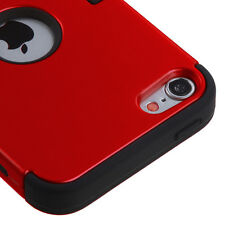 For iPod Touch 5th & 6th Gen - HARD&SOFT RUBBER HIGH IMPACT SKIN CASE RED HYBRID