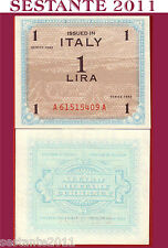 ITALIA ITALY 1 lira 1943 FLC, ALLIED MILITARY CURRENCY, AM LIRE, P M10a FDS UNC