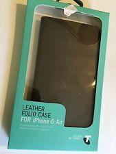 Telstra Folio Case Cover Genuine Leather for iPhone 6 Plus Dark Brown/ Black