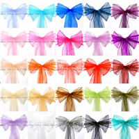 25/50/100 Organza Sash Chair Cover BOW Tie Ribbon Wedding Party Banquet Decor