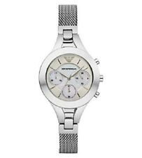 EMPORIO ARMANI SILVER CHRONO STAINLESS STEEL MOTHER OF PEARL LADIES WATCH AR7389