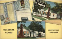 Brownsville TN Colonial Court Linen Motel Postcard