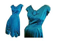 Vintage 50s Evening Dress Aqua Blue Rayon Satin Rose Bow Trim Small - Medium