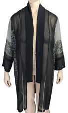 XL 1x DRESSORI Black & Gray Silk Lace Print Duster Jacket * NWT $200
