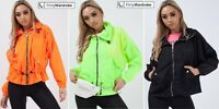 Hooded Festival Jacket Neon Wind Breaker MA1 Waistcoat High Neck Womens New