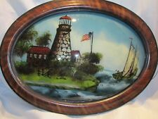 Antique Convex Oval Bubble Glass Reverse Painting Lighthouse Tiger Stripe Frame