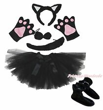 Black Cat Gauze Skirt Headband Bow Tail Paw Shoes 5pc Child School Party Costume