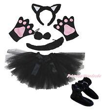 Black Cat Gauze Skirt Headband Bow Tail Paw Shoes 5pc Child School Party Costume