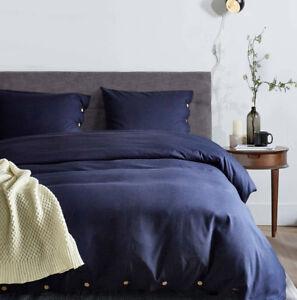 Plain Button Duvet Cover Quilt Bedding Set+Pillow Case, Twin,Queen,King All Size