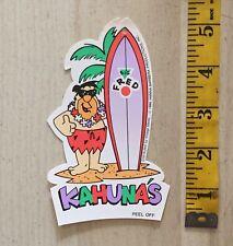 FRED FLINTSTONE SURFBOARD SURFING KAHUNA'S CLOTHING STICKER 80'S ALOHA SURF