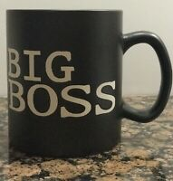 BIG BOSS Large Coffee Tea Cocoa Mug Cup Black With Tan Letters MASSIVE