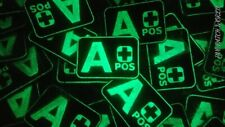 A+ POS TACTICAL BLOOD GROUP - 3D PVC PATCH - GLOW IN THE DARK