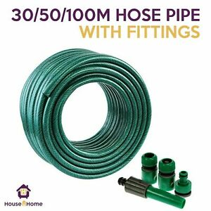 REINFORCED GARDEN HOSE PIPE TUBE WITH SET SPRAY WATERING NOZZLE SET FITTINGS