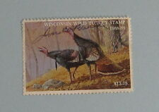 1988 Wisconsin DNR Wild Turkey Hunting License Stamp...Free Shipping!