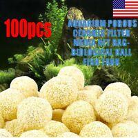 100Pcs Aquarium Porous Ceramic Filter Media Net Bag Biological Ball Fish Tank