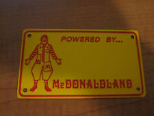 Vintage 1970's McDonald's McDonaldland BICYCLE Tin PEDAL CAR Promo License Plate