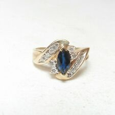 Estate 10K Yellow Gold 0.70 Ct Natural Marquise Navy Blue Sapphire Diamond Ring
