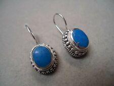 SouthWestern Sterling Silver 925 Blue Lapis Lazuli Gem Beadwork Oval Earrings