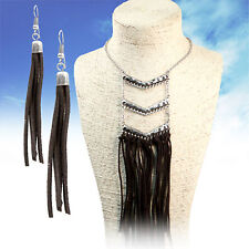 "COWGIRL Bling Southwest Tribal Suede Fringe Western Gypsy 16"" NECKLACE set"