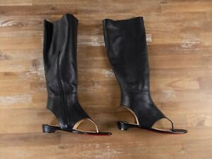 $1375 CHRISTIAN LOUBOUTIN From Sand black leather sandal boots 7.5 US / 37.5 EU