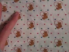 Small print fabric material sewing quilting teddy bear toy in hearts  red green