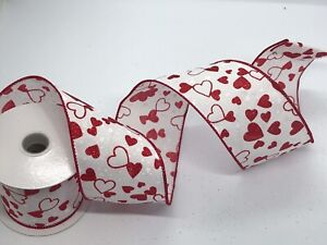 """White Ribbon with Red Glitter Hearts, Valentine's Day, 2.5"""" wide x 9 feet, Spool"""