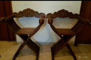 Pair of Vintage Antique Italian 50s Folding Wood Chair Savonarola