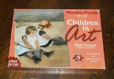 Mary Cassett Children On The Beach Wood Puzzle 16 by 21 with 24 Pieces