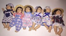 """Lot of Six 6 GI-GO Expressions Dolls Baby 8"""" PALM PALS BEAN BAG Funny Faces"""
